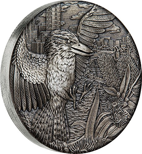 2018 AU Modern Commemorative PowerCoin AUSTRALIAN KOOKABURRA Antique Finish 2 Oz Silver Coin 2 Australia 2018 Antique Finish