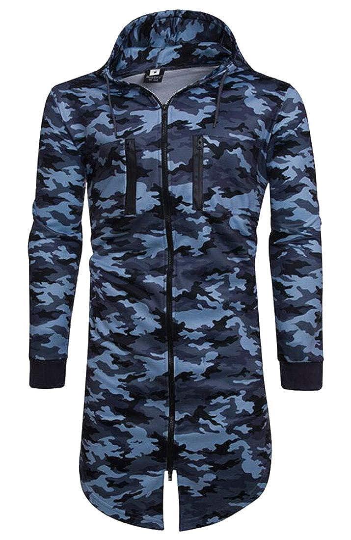 Rrive Mens Zipper Drawstring Outdoor Camouflage Print Hooded Sweatshirt Jacket