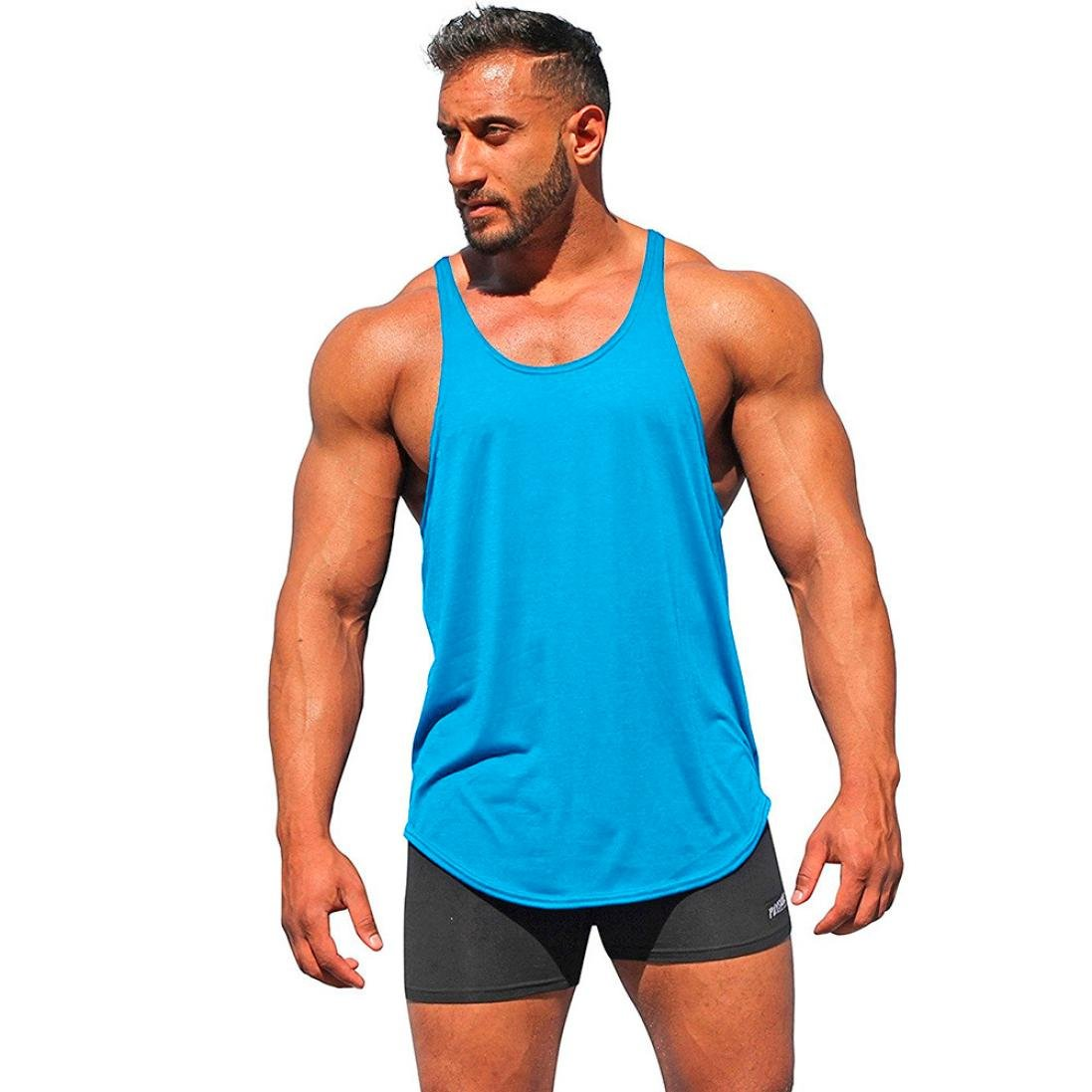 Allywit Sleeveless Shirts for Men Muscle Workout Tank Tops Bodybuilding Running
