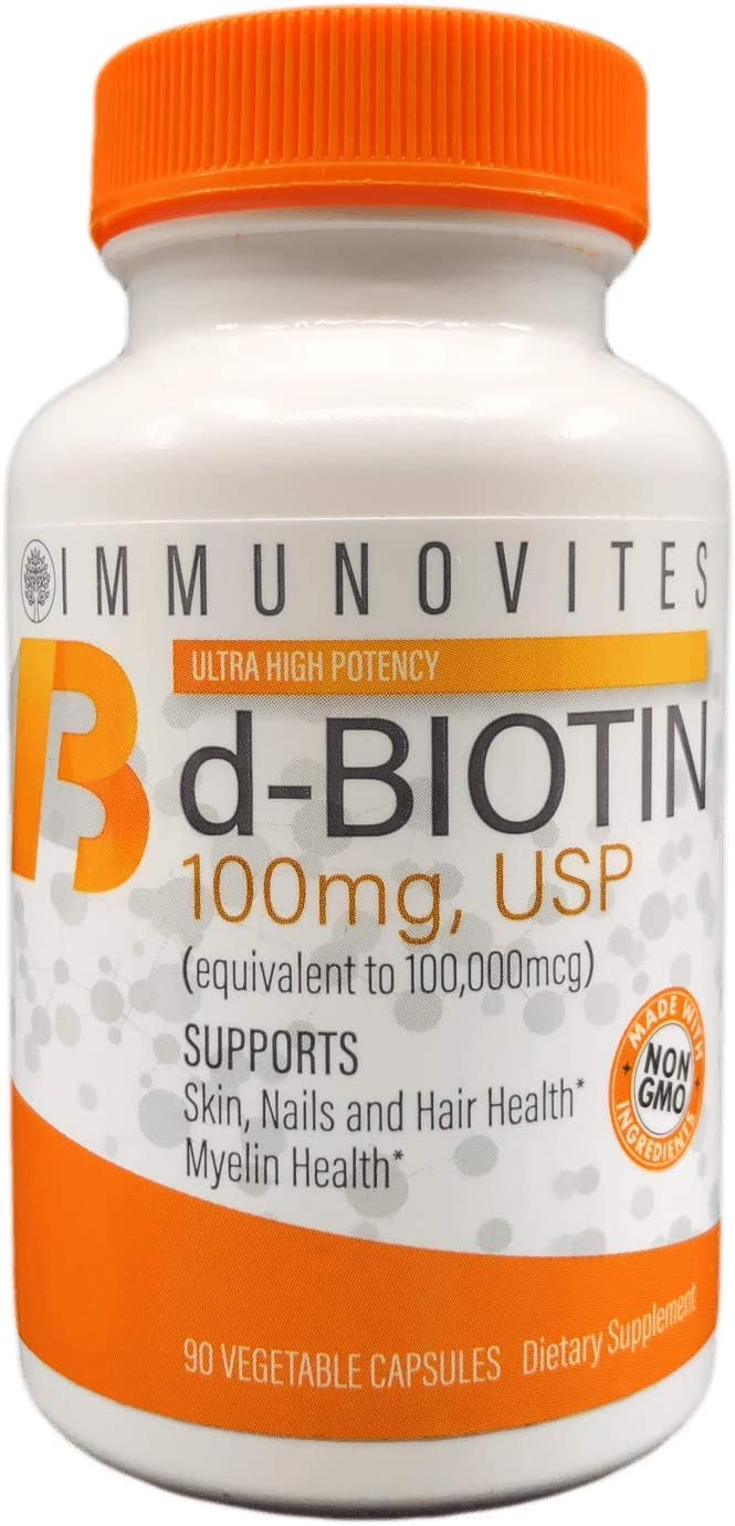 High Dose Biotin as d-Biotin, USP 100mg Equivalent to 100,000mcg 90 Capsules, High Potency