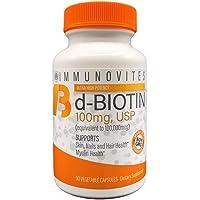 High Dose Biotin (as d-Biotin, USP) 100mg (Equivalent to 100,000mcg) 90 Capsules...