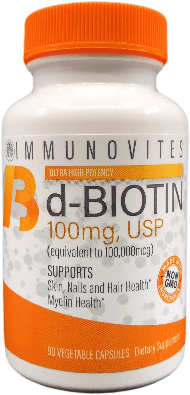 High Dose Biotin (as d-Biotin, USP) 100mg (equivalent to 100,000mcg) 90 Capsules, High Potency (1)