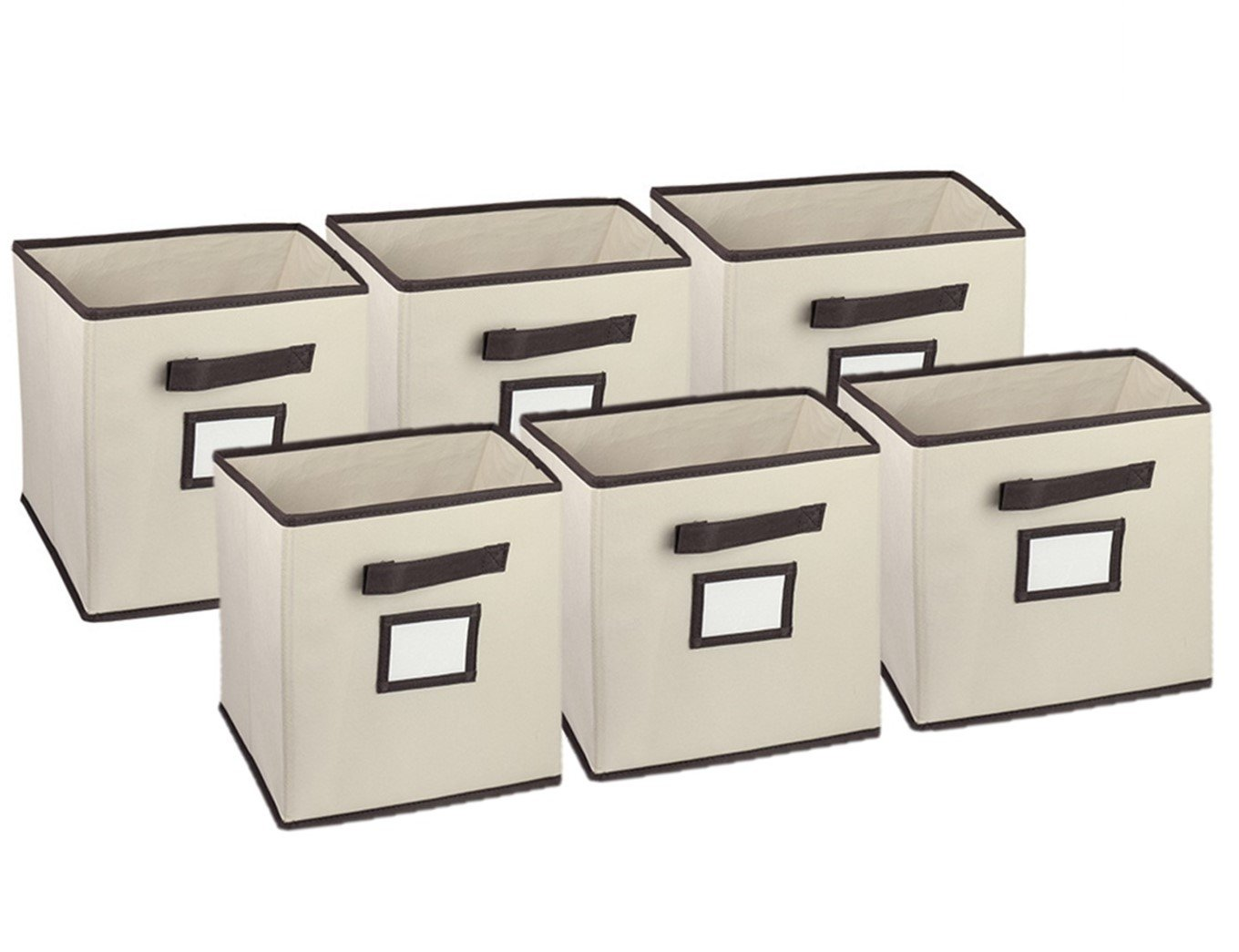 Foldable Storage Cube Closet Organizer, Classic Beige, 6 Pack with Handy Label Window to Make Identifying Contents Easy. Set Includes 6 Collapsible Fabric Cubicle Storage Bins