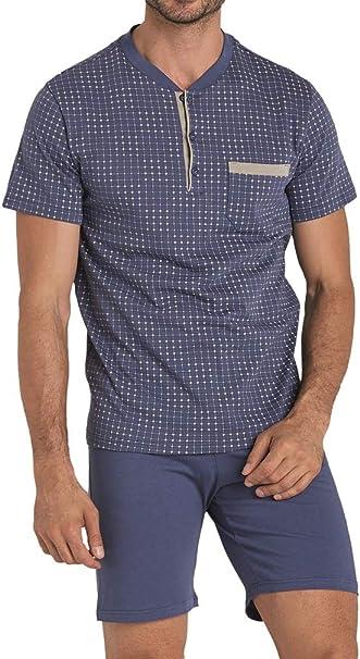 Vilfram - Pijama para Hombre, Color Azul Claro, 100% algodón, Estampado Serafino de Dos Piezas, Camiseta de Media Manga con Cierre de Botones y pantalón Corto: Amazon.es: Ropa y accesorios