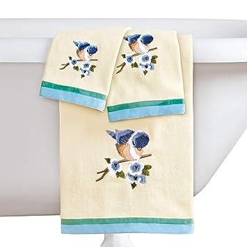 Collections Etc - Juego de 3 Toallas Bordadas para pájaros, Incluye Toalla de baño, Toalla de Mano y paño de Limpieza: Amazon.es: Hogar