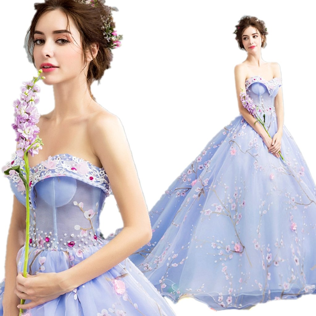 bluee WWW USA Women's Dress bluee Flowers Embroid Strapless Fishtail Bride Wedding Dress