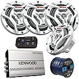 Marine Speaker And Amp Package: 4x JVC CS-DR6201MW 300-Watt 6.5 2-Way Coaxial Speakers Bundle Combo With Kenwood 400-Watt 4-Channel Black Waterproof Bluetooth Amplifier + 50Ft 16g Speaker Wire