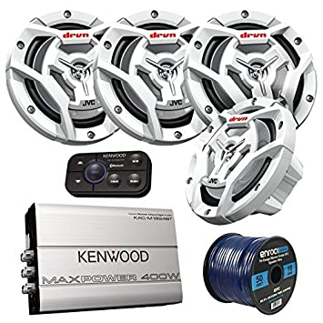 Marine Speaker And Amp Package 4x JVC CS-DR6201MW 300-Watt 6.5 2-Way Coaxial Speakers Bundle Combo With Kenwood 400-Watt 4-Channel Black Waterproof Bluetooth Amplifier 50Ft 16g Speaker Wire