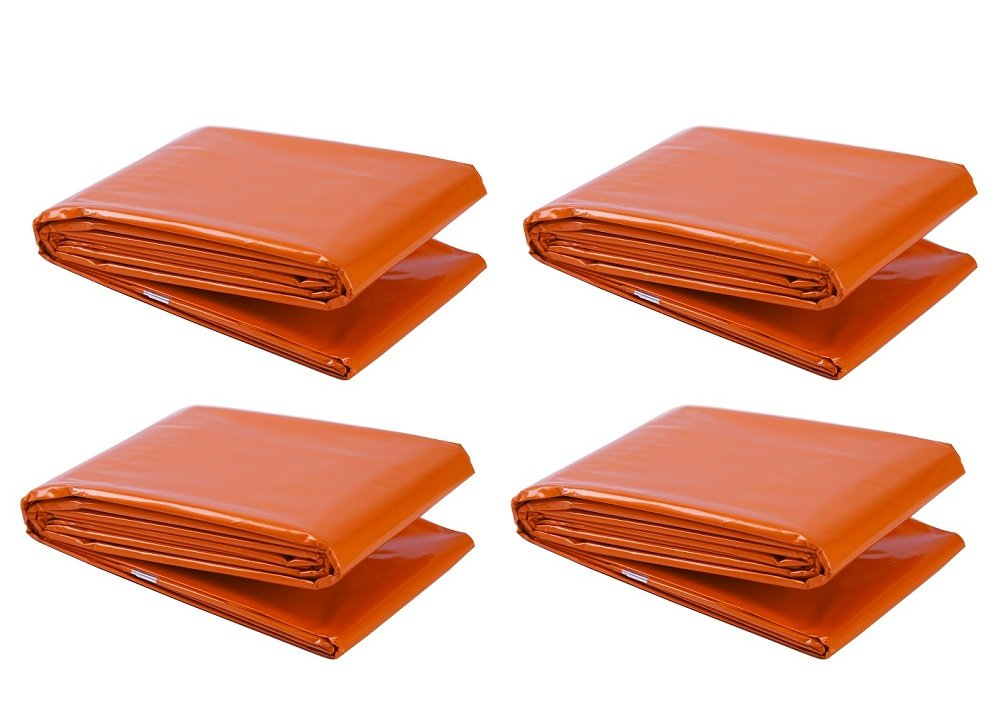 Somine Strong Emergency Blankets 4 Packs 83 x 52 inches - Lightweight & Compact for Outdoor Survival Highly Visible Orange Outside Color- Absorbs Sunlight to Keeps You Warm Younger Ltd