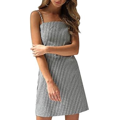 en espalda de con sexy Vestido Moichien Tienda midi Sin espagueti de frío de Raya mangas ropa correa Hombro Amazon Bowknot Sin para Volver mujer Vestidos CRxg5