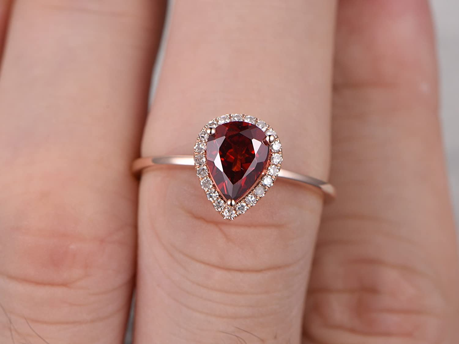 Amazon.com: Natural Red Garnet Engagement Ring Set,6x8mm Pear Cut ...