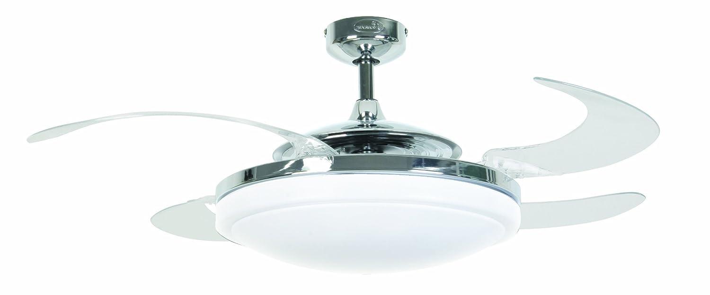 FANAWAY EVO2Endure 210932Ventilateur de plafond à pales pliables avec télécommande et éclairage, Métal, Weiß, 122 cm, 1 55 watts 240 volts [Classe énergétique A] 210930