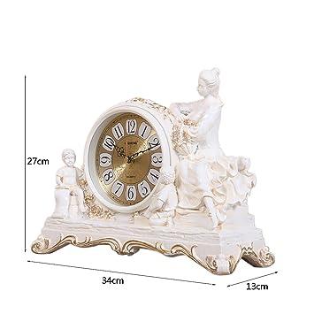 SESO UK- Reloj de Cuarzo Retro Europeo Resina Relojes de pie de estantería de la Sala de Estar (Color : Blanco): Amazon.es: Hogar