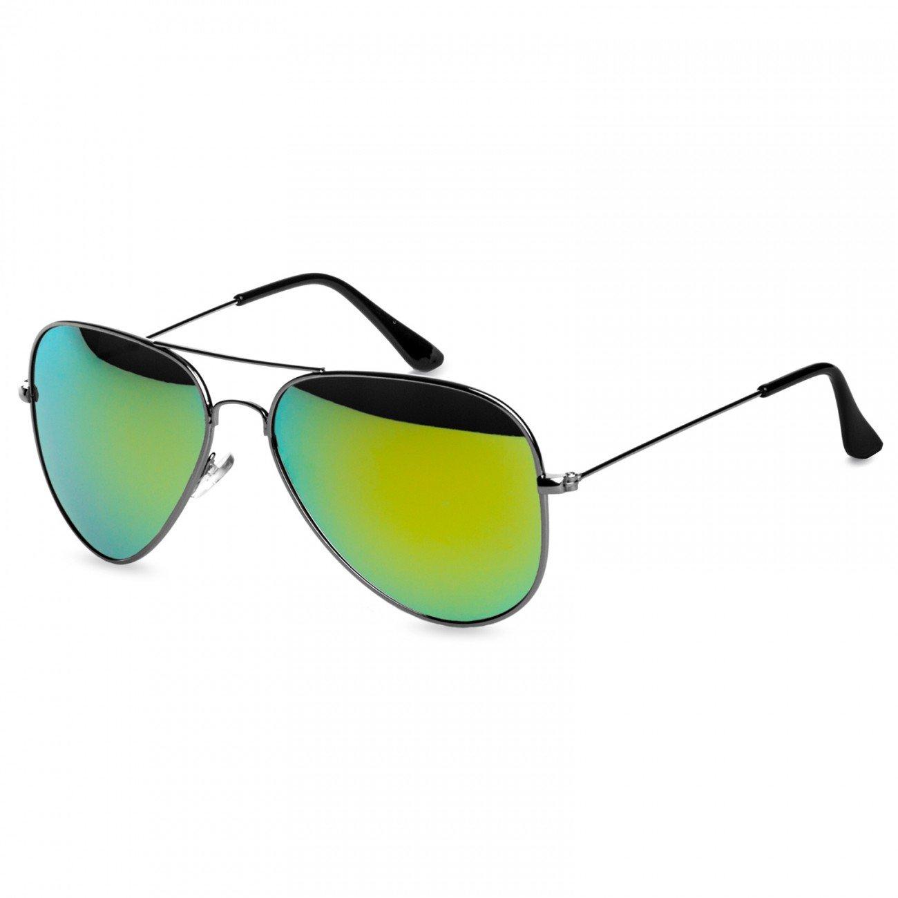 CASPAR PREMIUM Unisex Classic Aviator Pilotenbrille / Sonnenbrille - viele Varianten - SG032, Farbe:schwarz / schwarz getönt