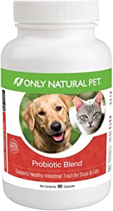 Only Natural Pet Probiotic Dog & Cat Supplement - Digestive Intestinal Tract Health Enzyme Formula - 90 Capsules