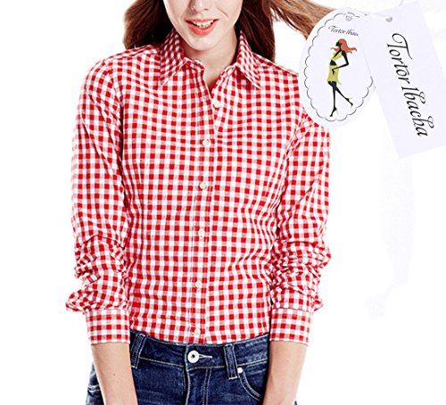 Women's Gingham Long Sleeve Button Down Plaid Shirt Red White - Red Dress Gingham White