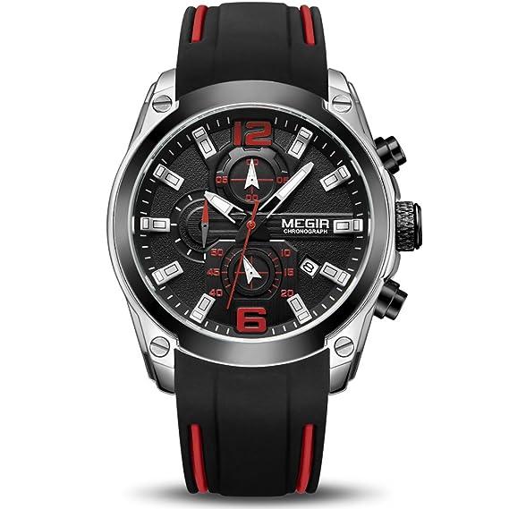 Megir - Reloj de pulsera de cuarzo para hombre, cronógrafo de lujo, 30 m, resistente al agua para niño y hombre: Amazon.es: Relojes
