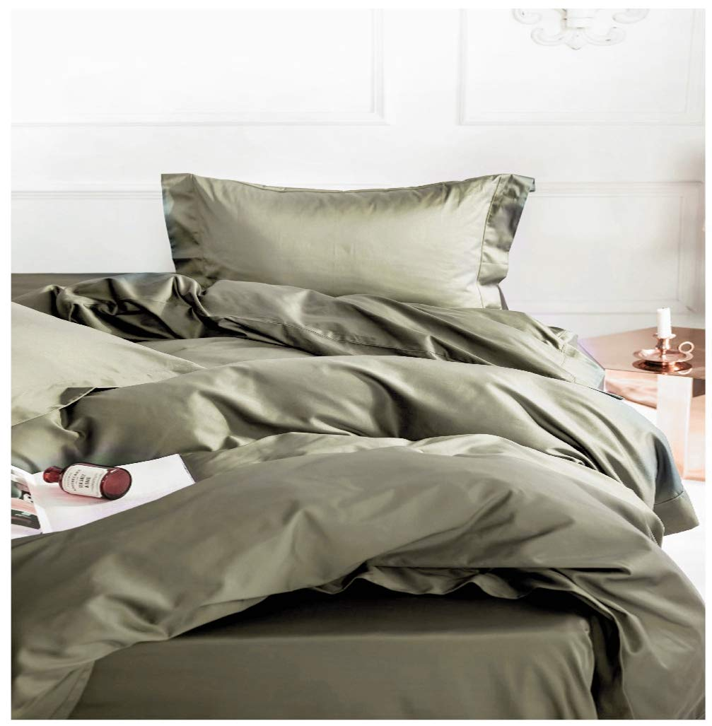 Solid Color Egyptian Cotton Duvet Cover Luxury Bedding Set High Thread Count Long Staple Sateen Weave Silky Soft Breathable Pima Quality Bed Linen (Queen, Olive)