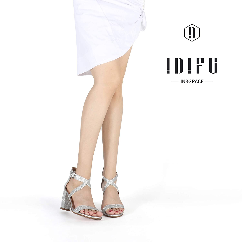 IDIFU Womens IN3 Grace Strappy Chunky Block Heels Open Toe Crisscross Ankle Strap Heeled Sandals
