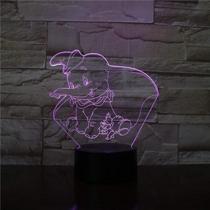 3D Veilleuse 3D Led Veilleuse Lampe Dumbo Mignon B/éb/é Veilleuse Couleur Changeante D/écoration Int/érieure Enfants Fille Gar/çons Enfant Cadeau 3D Lampe /Él/éphant