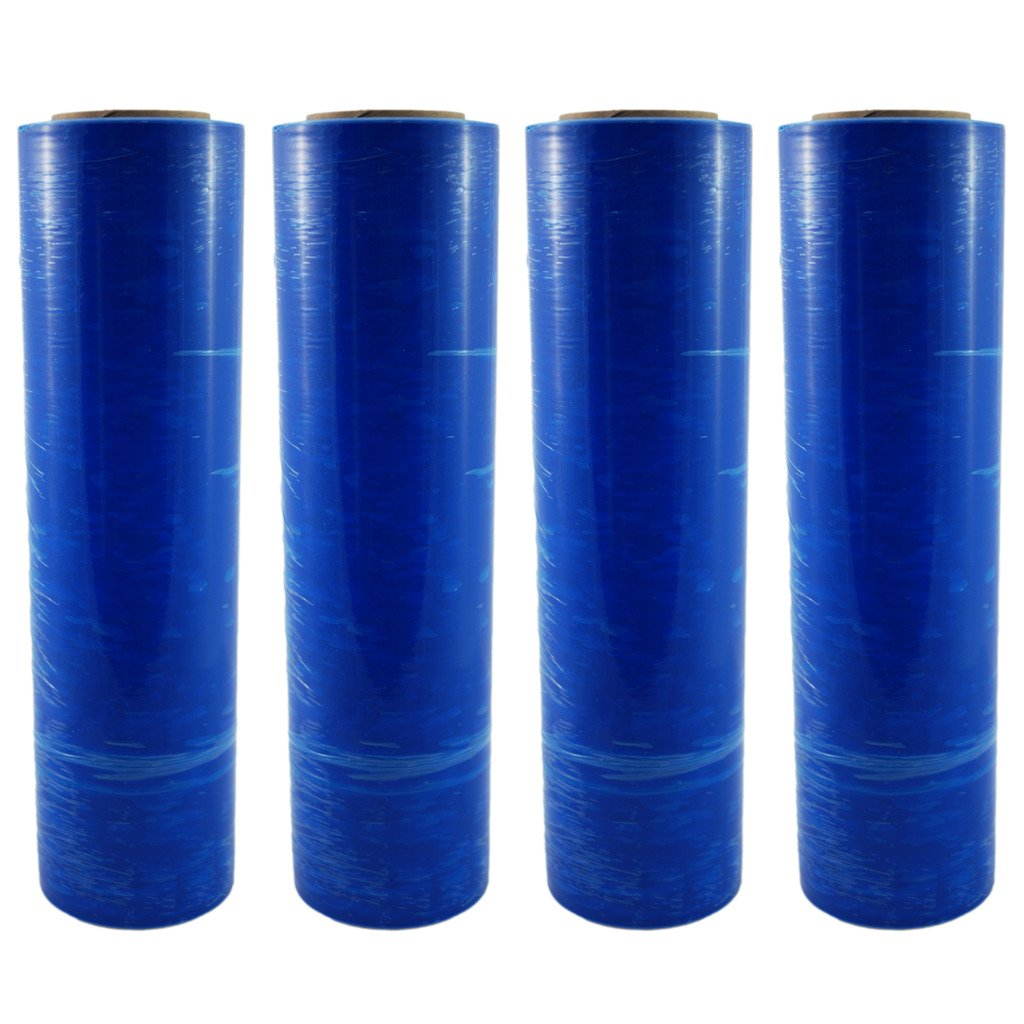 TOTALPACK - 18'' x 1000 FT Roll - 85 Gauge Thick + Hybrid technology, 4 Pack. Stretch Moving & Packing Wrap. Industrial Strength, Blue Plastic Pallet Shrink Film Ideal For Furniture, Boxes, Pallets… by Totalpack