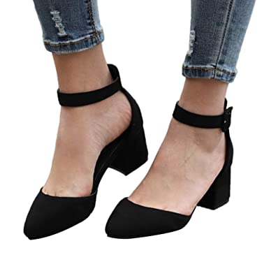 4e4b081fd00800 Women Ankle Strap Buckle Pumps Pointed Toe Simple Classic Sandals Chunky  Heel by Lowprofile Black