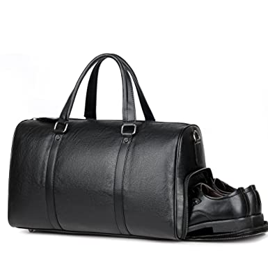 Men Leather Travel Weekender Overnight Small Duffel Bag Business Gym Sports Black  Luggage Tote Duffle Bags 895530463c14a