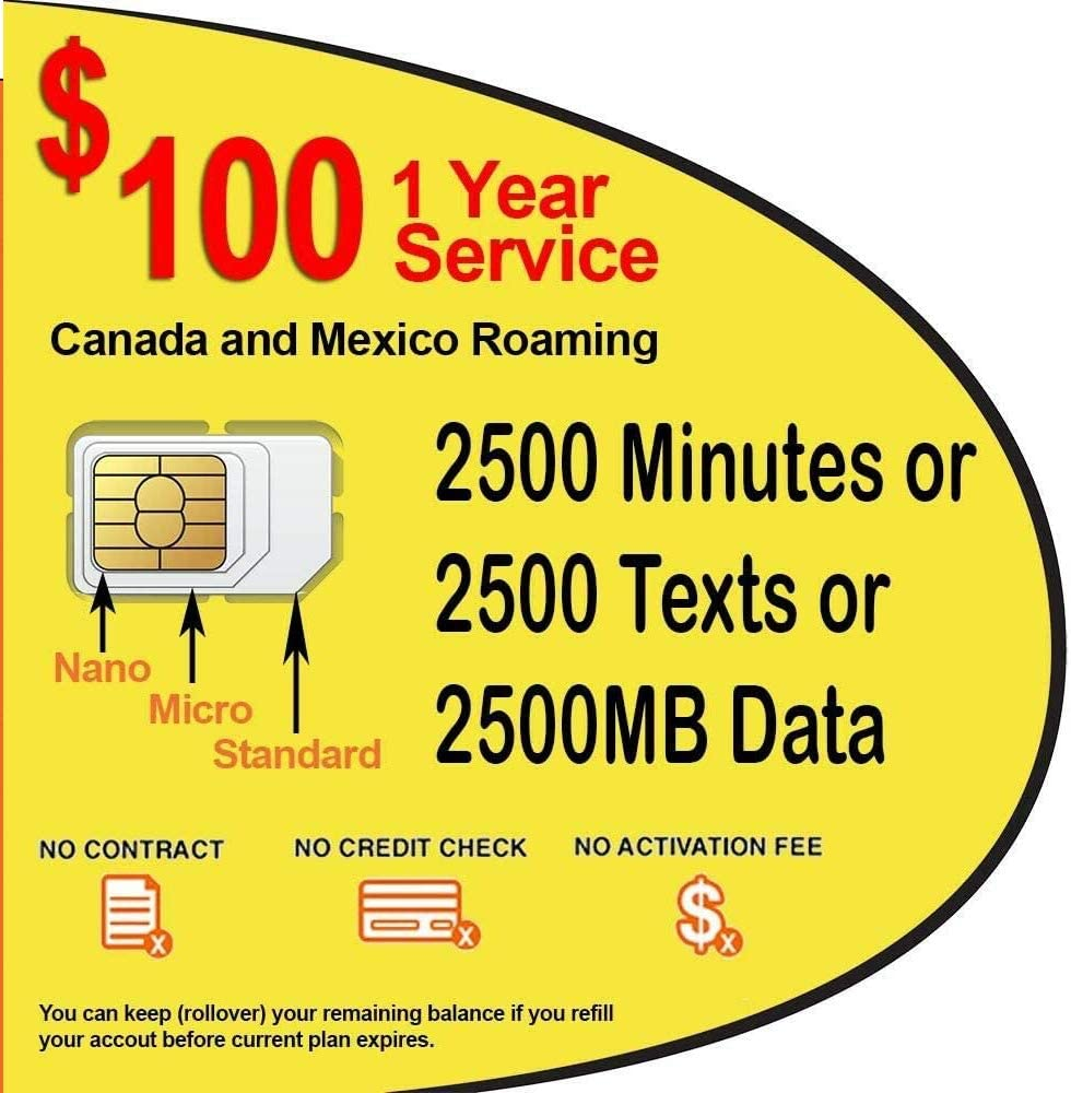 SpeedTalk Mobile 1 Year Prepaid GSM SIM Card - Rollover 2500 Minutes Talk Text Data