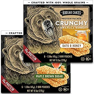 Kodiak Cakes Crunchy Granola Bar Variety Pack: (2 Boxes) Oats & Honey and (2 Boxes) Maple Brown Sugar
