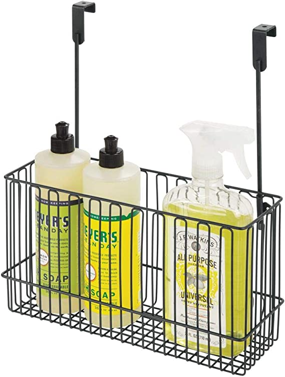 Hang Over Cabinet Doors in Kitchen//Pantry mDesign Metal Over Cabinet Kitchen Storage Organizer Holder or Basket Holds Bakeware Steel Wire in Graphite Gray 2 Pack Cookbook Cleaning Supplies