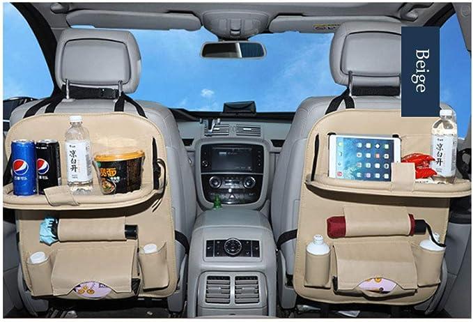 Faltbarer Auto-Esstisch Touchscreen-Tablet-Halter Flaschenhalter Multifunktionaler Organizer F/ür Die R/ücksitzlehne,beige BCLGCF Multifunktionaler Premium-Organizer Aus PU-Leder Mit Faltbarer Ablage
