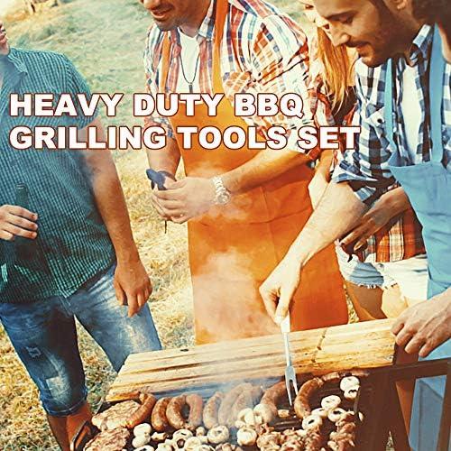 Tidyard Ensemble d'outils de grillade pour Barbecue Robuste. Acier Inoxydable Extra épais + Manche en Bois Comprenant Une Pelle, Un Clip, Une Fourchette pour Barbecue