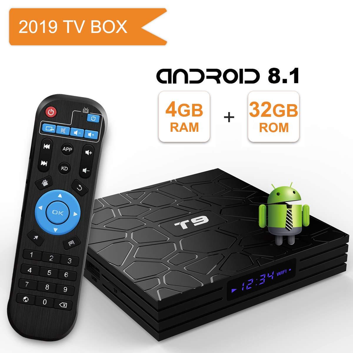 H.265 BT4.1 3D UHD 4K Smart TV Box Android TV Box 8.1,2019 T9 Android Box 4GB RAM 32GB ROM RK3328 Quad Core//2.4GHz//64 bits