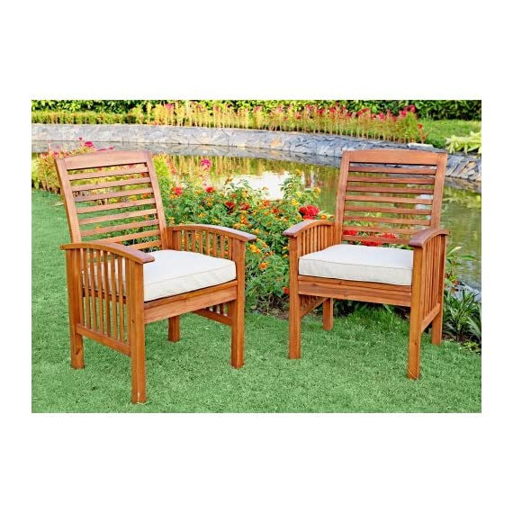 """Walker Edison Furniture Company Solid Acacia Wood Patio Chairs (Set of 2) - Brown - Dimensions: 37"""" H x 24"""" L x 20"""" W Made with solid acacia wood , perfect for outdoor use Includes 2 chairs. Each chair supports up to 250 lbs. - patio-furniture, patio-chairs, patio - 61v1aurS3BL. SS570  -"""