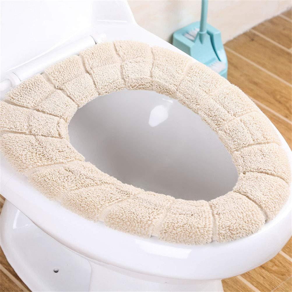 SUPVOX 2pcs Coussin de Si/ège de Toilette Couvre-Si/ège de Toilette Universel Lavable et Extensible Beige et Vert