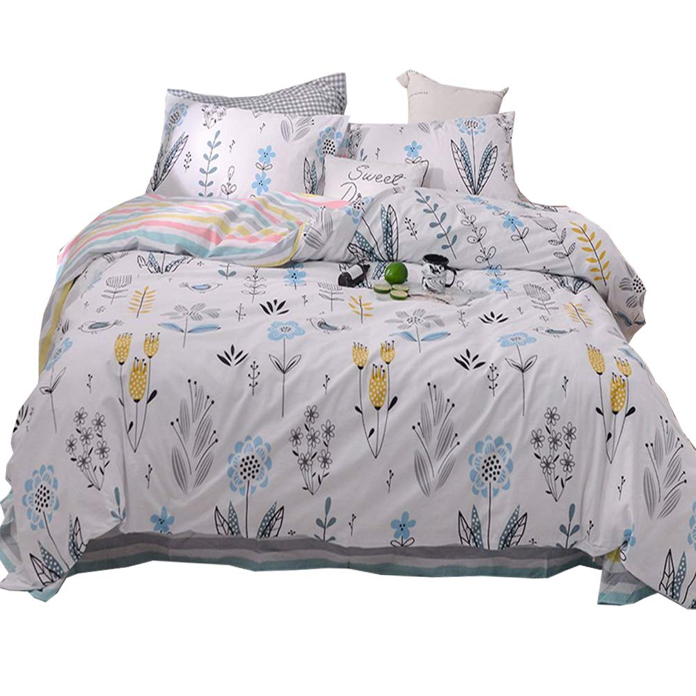 Lightweight Soft Cotton Full Kids Duvet Cover Sets with Pink Floral Printing Zippered Pastoralism Bedding Reversible Flower Queen Bedding Cover Sets 3 Pieces for Teens Boys Girls,Gift BHUSB BH6803Q1