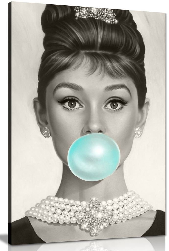 Audrey Hepburn Blue Bubblegum Canvas Wall Art Picture Print (36x24in) Panther Print