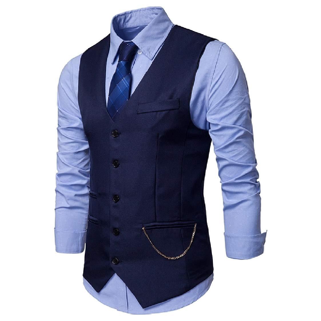 Nanquan Men Sleeveless Slim Single-Breasted V-Neck Suit Vests Waistcoat