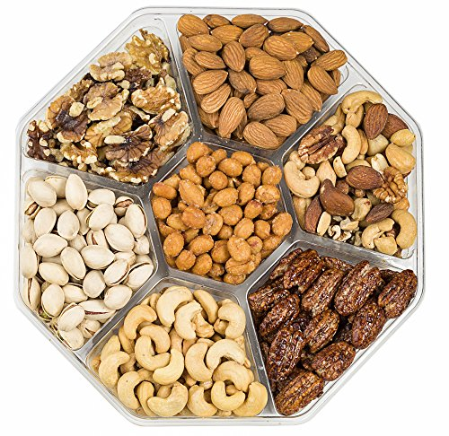 Farm Fresh Nuts, Holiday Gift Basket, Freshly Roasted Nut Tray, Gourmet Gift Platter, 7-Section, (1 LB.) Healthy Assortment, Premium Quality, Packaged with Love!
