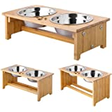 FOREYY Raised Pet bowls for Cats and Dogs - Bamboo Elevated Dog Cat Food and Water Bowls Stand Feeder with 2 Stainless Steel Bowls and Anti Slip Feet - Patent Pending