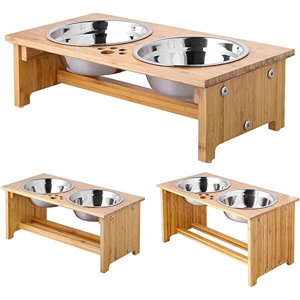 13oz Double NEW Shallow Bowls Elevated Cat Feeder Stand Solid Wood Raised Stand with Two Raised Dog Bowl 7 tall Small Handcrafted- Made in the USA Eco-Friendly Non-Toxic Stainless Steel Bowls