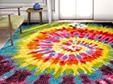 bright colored area rugs - HomeWay Rainbow 3'3'' x 5' Vivid rainbow-colored soft Rug Mid-century modern Velvety bright soft Area Rug