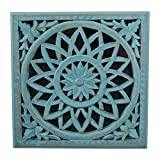 Indian Heritage Wooden Wall Panel MDF Mirror with Carved Panel in Turquoise Blue Finish