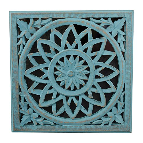 Indian Heritage Wooden Wall Panel MDF Mirror with Carved Panel in Turquoise Blue Finish by Indian Heritage