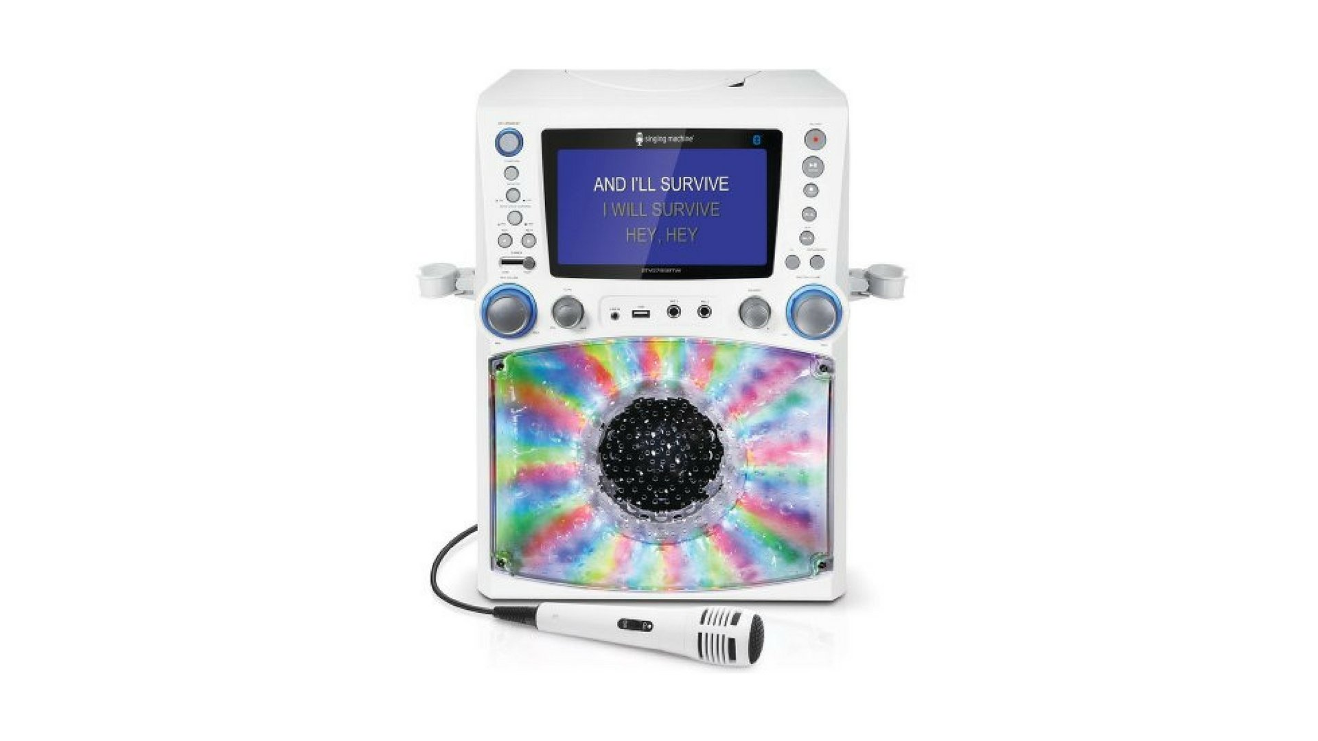 Singing Machine Bluetooth Karaoke System with 7'' Color Monitor and Microphone White