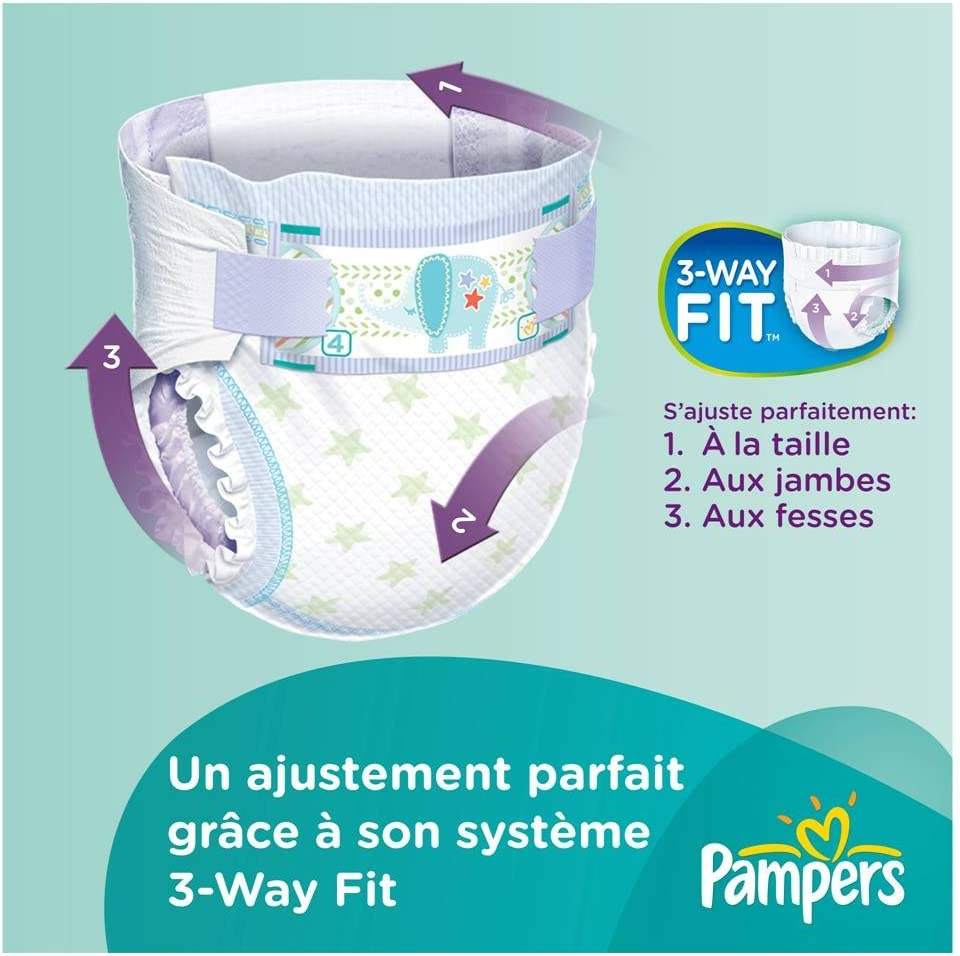 Active Fit Couches Pampers Taille 3 Midi 4-9 kg 81371245 M/égapack x 100 Couches
