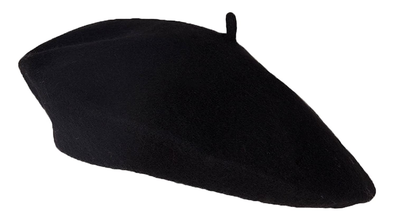 Wool Blend Fashion French Beret, Black TOP HEADWEAR