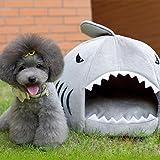 MAUMAU サメ ペットハウス 小型 犬猫 ソファ 暖かい 子犬 クッション 猫 シャーク ベッド 洗える 犬ハウス Sサイズ グレー