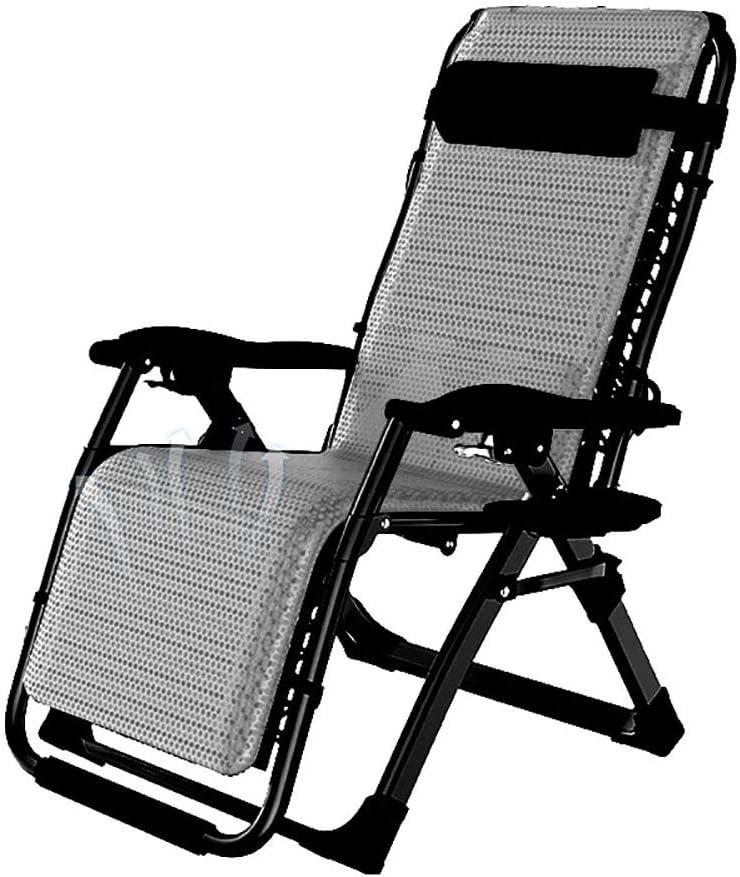 Lounge chair Sillón reclinable, Silla Tumbona Plegable reclinable de Gravedad Cero con portavasos Sillón portátil para terraza Balcón Playa al Aire Libre,Gray
