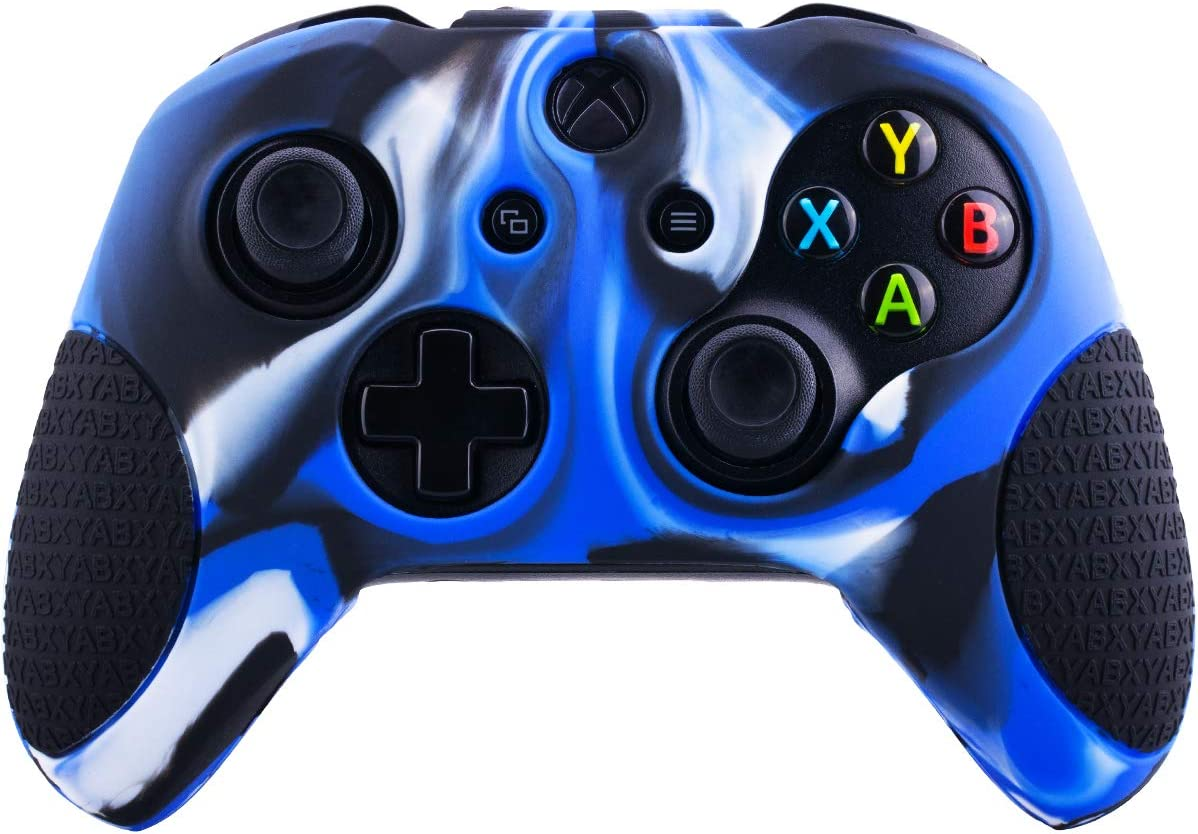 YoRHa Silicone Cover Skin Case for Microsoft Xbox One X /& Xbox One S controller x 1 blue green With Pro thumb grips 8 pieces